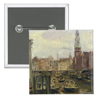 Floating Market on a canal in Hamburg, 1905 15 Cm Square Badge