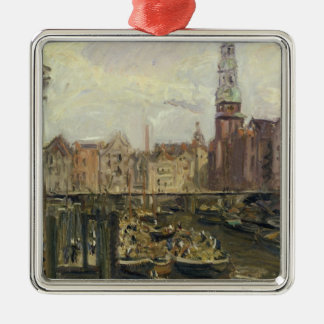 Floating Market on a canal in Hamburg, 1905 Christmas Ornament
