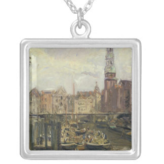 Floating Market on a canal in Hamburg, 1905 Silver Plated Necklace