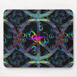 Floating Neon Peace Signs Mouse Mat