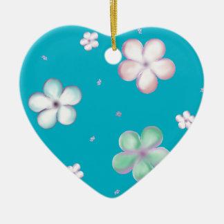 Floating Pastel Bubble Flowers Ceramic Heart Decoration