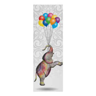 Floating Peace Elephant Happy With Balloons Damask Poster