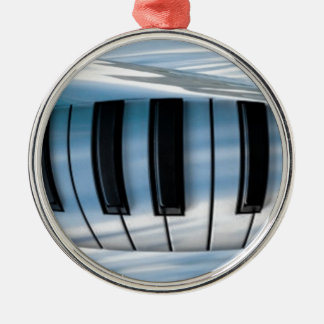 Floating Piano Keys Silver-Colored Round Decoration