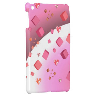 Floating Pink Cubes and Hearts iPad Mini Covers
