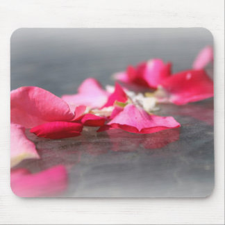 Floating Pink Rose Petals on Water Mousepad