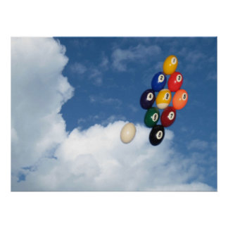 Floating pool balls. poster