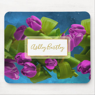 Floating Purple Tulips in Outer Space Mouse Mat