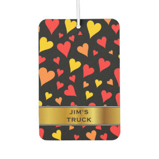 Floating Red, Orange and Yellow Hearts Pattern Car Air Freshener
