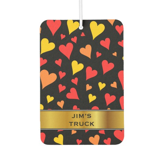 Floating Red, Orange and Yellow Hearts Pattern Car
