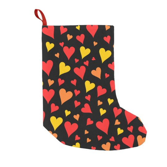 Floating Red, Orange and Yellow Hearts Pattern Small