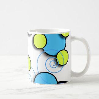 Floating Retro Circles Blue and Lime Basic White Mug