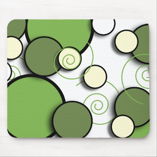 Floating Retro Circles Green and Cream Mousepad