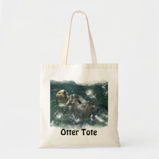 Floating Sea Otter Shopping Tote Series Bags