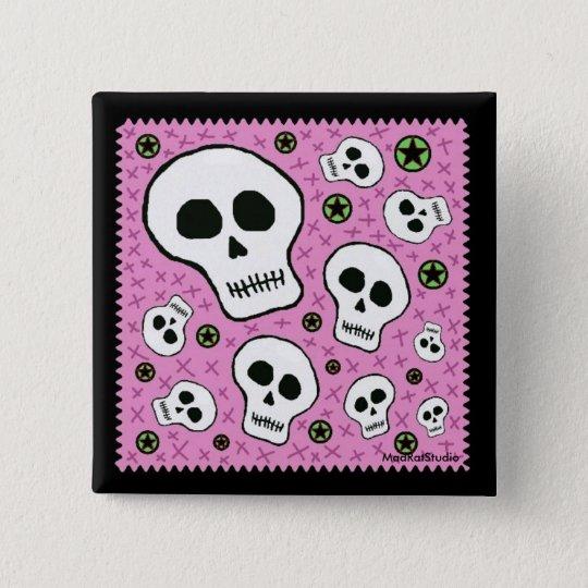 Floating Skulls Pink 15 Cm Square Badge