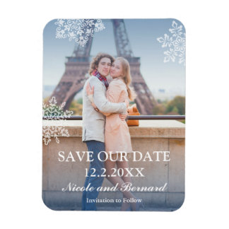 Floating Snowflakes Winter Photo Save the Date Magnet