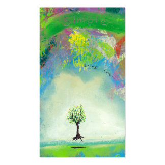 Floating tree colorful modern art In Motion Simple Business Cards