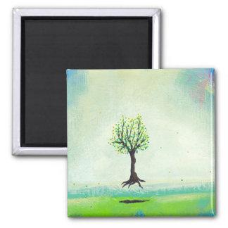 Floating tree colorful modern art In Motion Simple Fridge Magnet