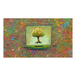 Floating tree earthy natural unique painting art Double-Sided standard business cards (Pack of 100)