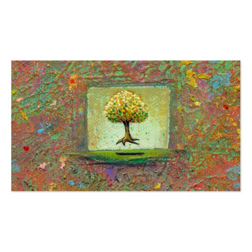 Floating tree earthy natural unique painting art business card