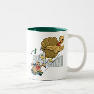 Floating Turkey Dinner Two-Tone Coffee Mug