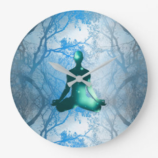Floating yogi in the Trees (blue) Large Clock