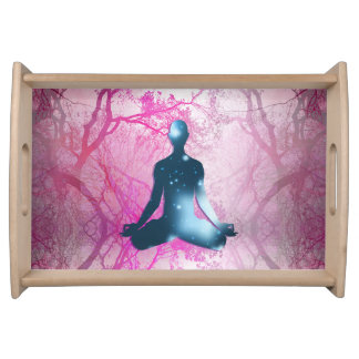 Floating yogi in the Trees (magenta) Serving Tray