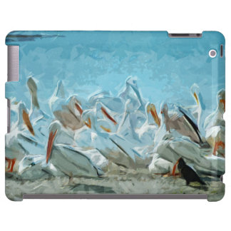Flock of American White Pelicans and Friend