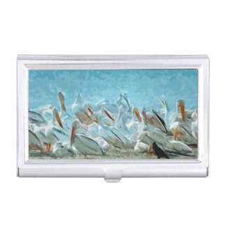 Flock of American White Pelicans and Friend Business Card Cases