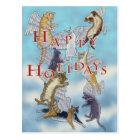 Flock of Angel Cats Happy Holidays Postcard