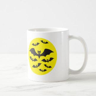 Flock of bats against the Moon. Basic White Mug