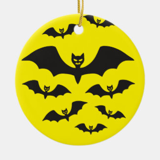 Flock of bats against the Moon. Round Ceramic Decoration
