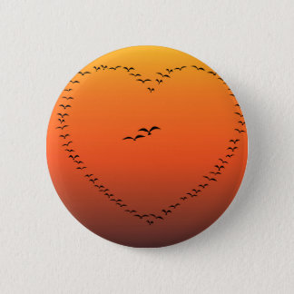 Flock Of Birds Flying Heart 6 Cm Round Badge