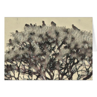 Flock of birds in a tree card