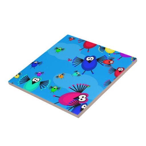 Flock of Birds Small Square Tile