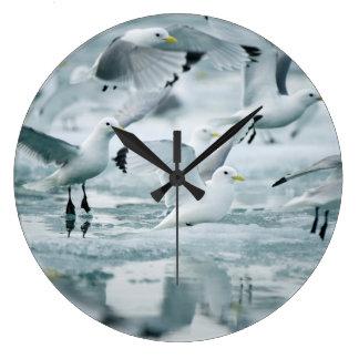 Flock of Black-legged Kittiwakes Large Clock