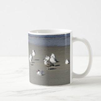 Flock of Chatty Seagulls on the Sand Mug