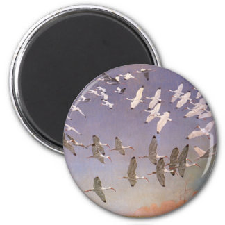 Flock of Ibis Flying Over Wetlands, Vintage Birds 6 Cm Round Magnet