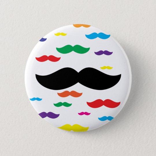 flock of moustache RAINBOW 6 Cm Round Badge