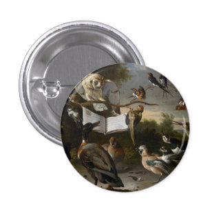 Flock of musical birds painting 3 cm round badge