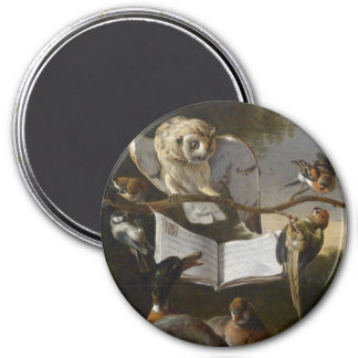 Flock of musical birds painting 7.5 cm round magnet