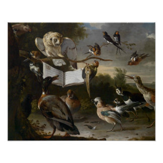 Flock of musical birds painting poster