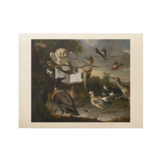 Flock of musical birds painting wood poster