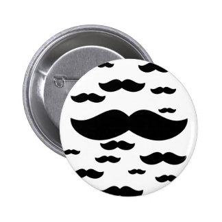 flock of mustache 6 cm round badge
