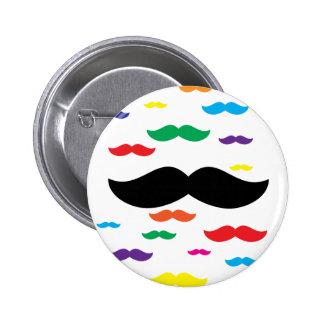flock of mustache RAINBOW 6 Cm Round Badge