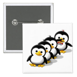 Flock of Penguins 15 Cm Square Badge