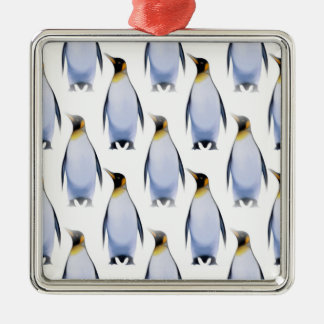 Flock of Penguins Silver-Colored Square Decoration
