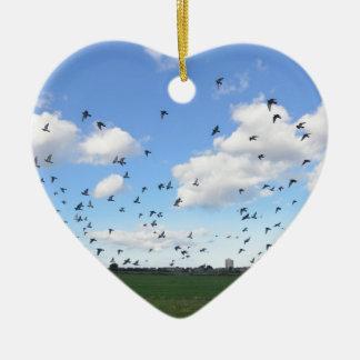 Flock Of Pigeons Ceramic Heart Decoration