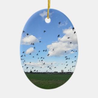 Flock Of Pigeons Ceramic Oval Decoration