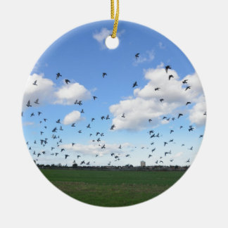Flock Of Pigeons Round Ceramic Decoration
