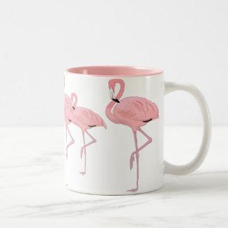 flock of pink flamingos Two-Tone mug